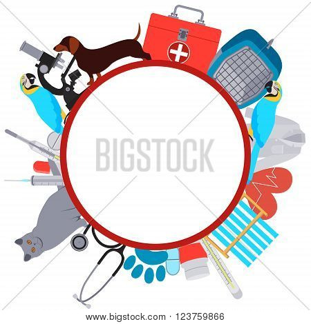 Frame Veterinary. Equipment and tools for Veterinary clinic. Vector illustration