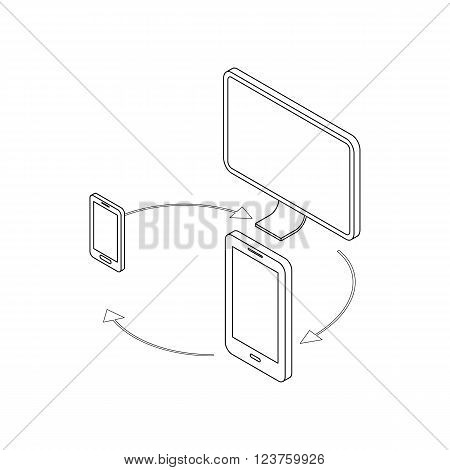 Gadgets synchronization icon in isometric 3d style isolated on white background