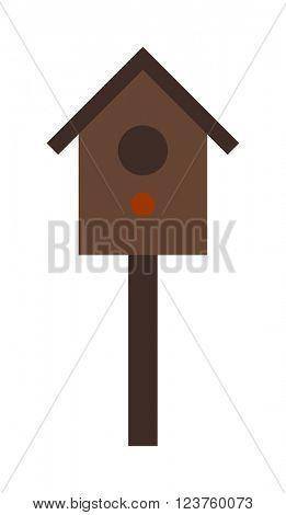 Wooden birdhouse hanging on tree nesting box flat vector.