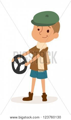 Driver boy with car rudder cute cartoon vector profession character.
