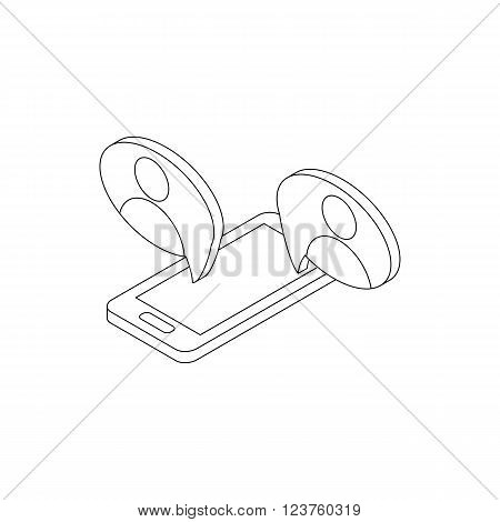 Mobile chatting icon in isometric 3d style isolated on white background. Mobile phone representing web chatting and dialog