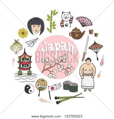 Doodle hand draw collection of Japan icons. Japan culture elements for design. Vector illustration in color.