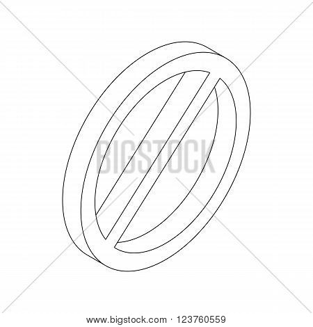 Prohibition sign icon in isometric 3d style isolated on white background