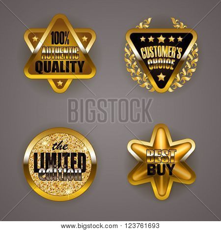 Set of luxury gold badges with laurel wreath, star. Customer s choice, limited edition, 100 percent authentic quality, best buy. Promotion emblems, icons, blazons for web, page design. Illustration EPS 10.