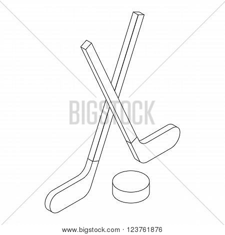 Two crossed hockey sticks and puck icon in isometric 3d style isolated on white background
