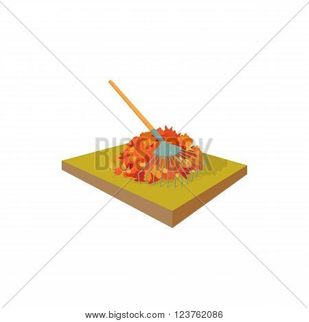 Fallen leaves collected in pile and rake icon in cartoon style on a white background
