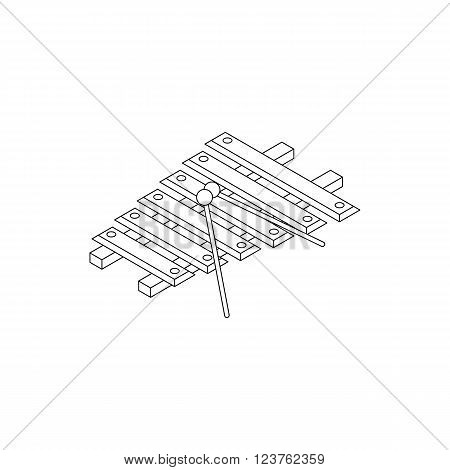 Xylophone icon in isometric 3d style isolated on white background