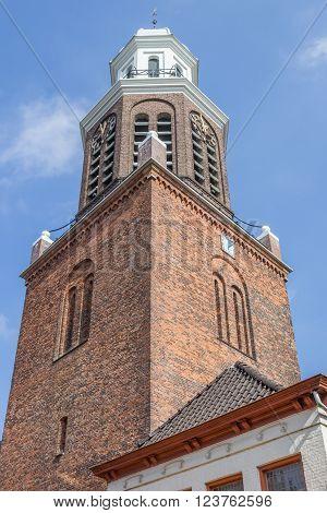 Church tower in the center of Winschoten, Holland