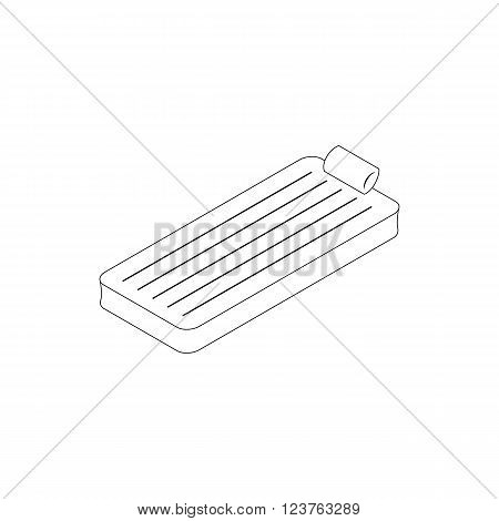 Floating air mattress icon in isometric 3d style isolated on white background. Beach mattress or pool raft