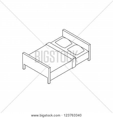 Double bed icon in isometric 3d style isolated on white background