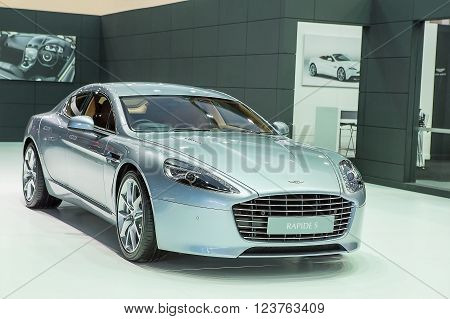 Bangkok - March 22 : silver bronze Aston Martin series Rapide S - in display at The 37th Bangkok international Motor Show 2016 on March 22 2016 in Bangkok Thailand