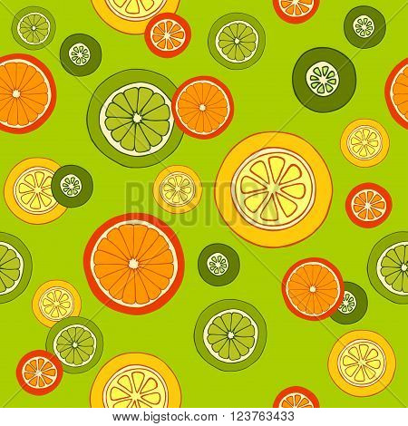 Collection of citrus slices - orange, lemon, lime and grapefruit, citrus pattern, vector illustration