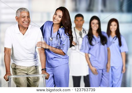 Nurse taking care of an elderly patient