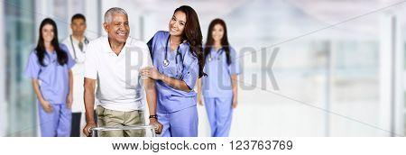 Nurse taking care of an elderly patient