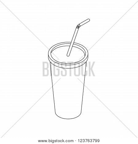 Plastic cup icon in isometric 3d style isolated on white background. Plastic fastfood cup with a straw