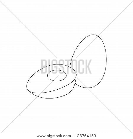 Boiled eggs icon in isometric 3d style isolated on white background. Sliced boiled egg