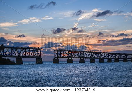 Sunset view of historic Rail Bridge at Bahia Honda state park in Florida Keys, USA.