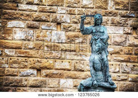 Giuditta and Oloferne bronze statue in Piazza della Signoria in Florence Italy