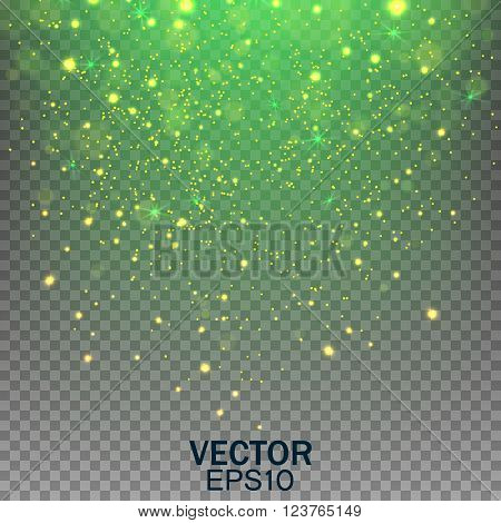 Stardust on a transparent background, Falling Star, Glow light effect. Golden lights. Vector illustration EPS10