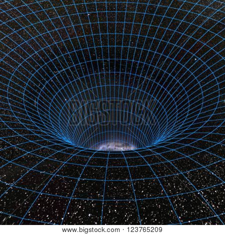 Abstract black holes, wormholes, warp tunnel. 3d illustration
