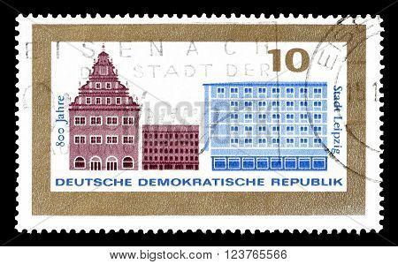 GERMAN DEMOCRATIC REPUBLIC - CIRCA 1965 : Cancelled postage stamp printed by German Democratic Republic, that shows Leipzig.