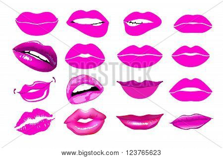 Set Of Isolated Women Lips On Light Background. Vector Illustration. Lips Set. Design Element. Woman