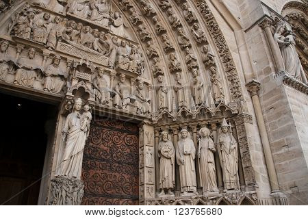 Main Entrance of Notre Dame de Paris - Portal of the Last Judgment.