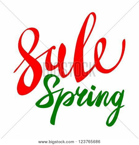 Spring Sale Vector Green Red Elements, Labels And Badges.