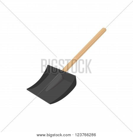 Snow shovel icon in cartoon style isolated on white background. Black snow shovel with a wooden handle