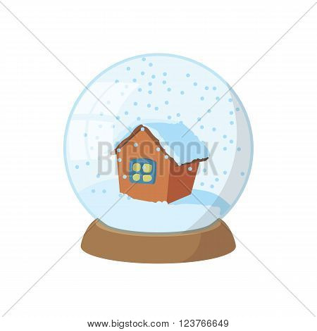 Snow globe icon in cartoon style isolated on white background. Christmas snow globe with falling snow