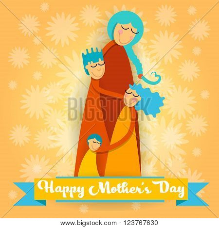 Happy Mother Day, Family Love Three Children, Mom Boy and Girl Embrace Greeting Card Vector Illustration