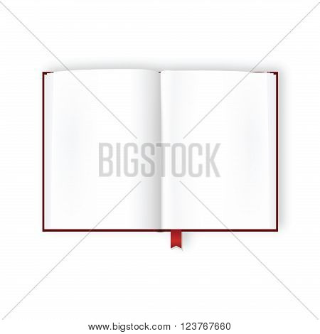 Overhead view of opened covered book with white glance blank pages and bookmark. Scrapbook or presentation design template. Copy space. Mock up. Vector is EPS10.