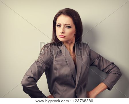 Stressed Angry Business Woman In Suit Looking. Toned Emotional Portrait