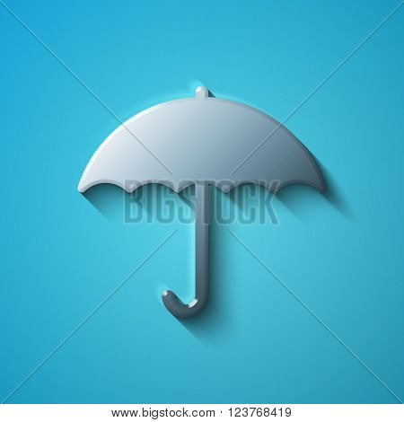 Protection concept: flat metallic Umbrella icon, vector