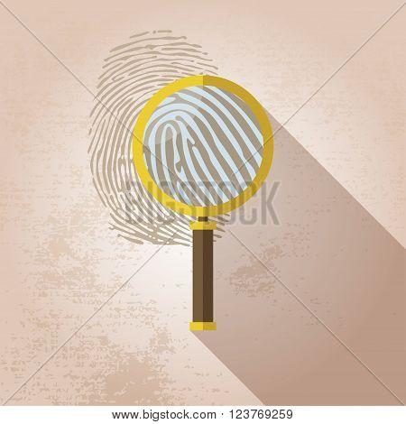 Magnifying Glass and Fingerprint vector illustration graphic