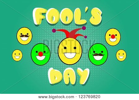 Smile Faces Fool Day April Holiday Greeting Card Vector Illustration