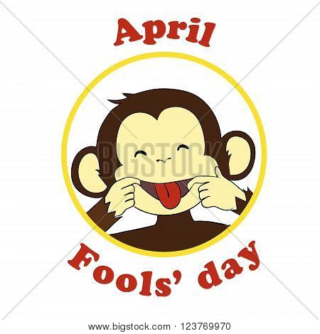 First April Fool day. Vector funny cartoon All fools day icon. Ape put out tongue.