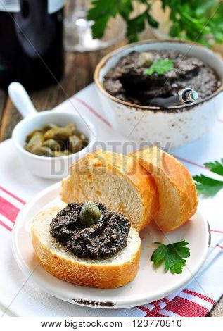 French cuisine - tapenade of olives, capers, anchovies and olive oil.