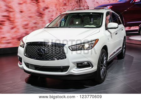 NEW YORK - March 23: A Infiniti QX60 exhibit at the 2016 New York International Auto Show during Press day,  public show is running from March 25th through April 3, 2016 in New York, NY.