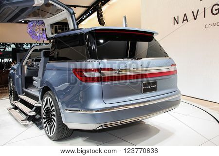 NEW YORK - March 23: A Lincoln Navigator Concept shown  at the New York International Auto  Show exhibit at the 2016.
