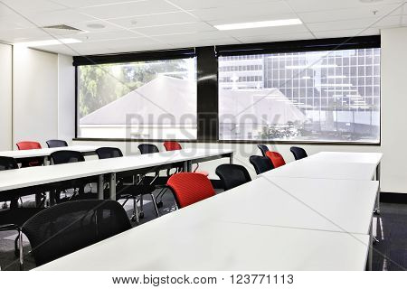 Class Or Conference Room With Glass Windows Showing Outside