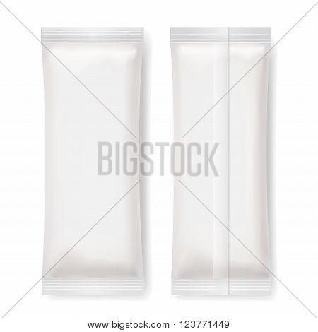 Set of White Blank Foil Packaging , Vector Illustration
