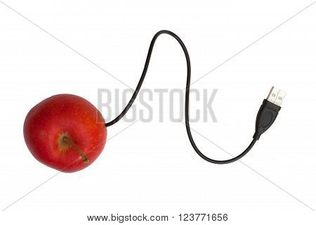 Black USB cord and a red apple on a white background