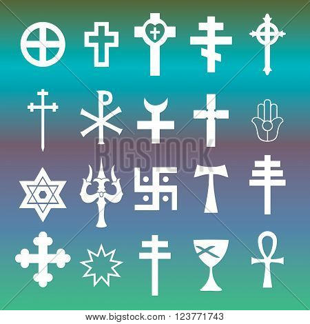 various religious symbols cross icons vector set