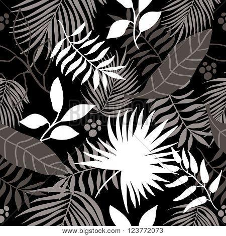 seamless jungle pattern background. Black and white.