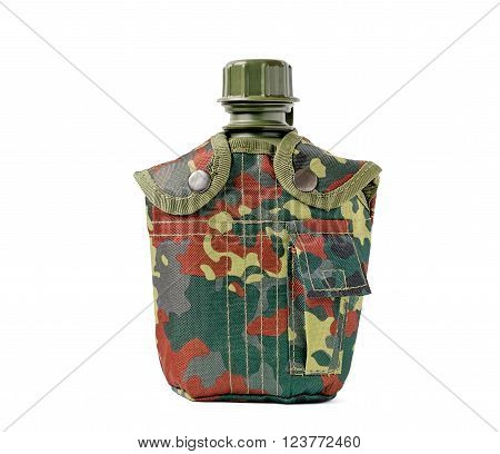 Front view of camouflage canteen isolated on white.