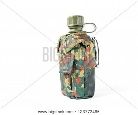 Side view of camouflage canteen isolated on white.