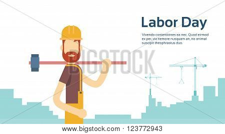 Worker With Big Hammer Wearing Hard Hat, Builder Industrial Background, International Labor Day Copy Space Flat Vector Illustration