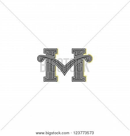 Western Letter M Logo Mockup Design, Retro Calligraphic Wedding Invitation Vintage Emblem