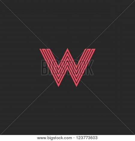 Initial Letter W Logo Pink Line Monogram Symbol, Wedding Or Business Card Emblem Mockup